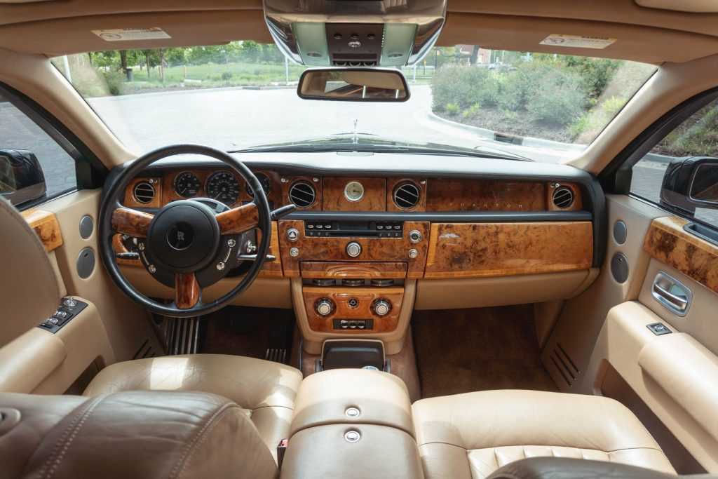 The tan interior of a 2005 Rolls-Royce Phantom owned by YouTube celebrity Tyler Hoover, from Hoovie's Garage.
