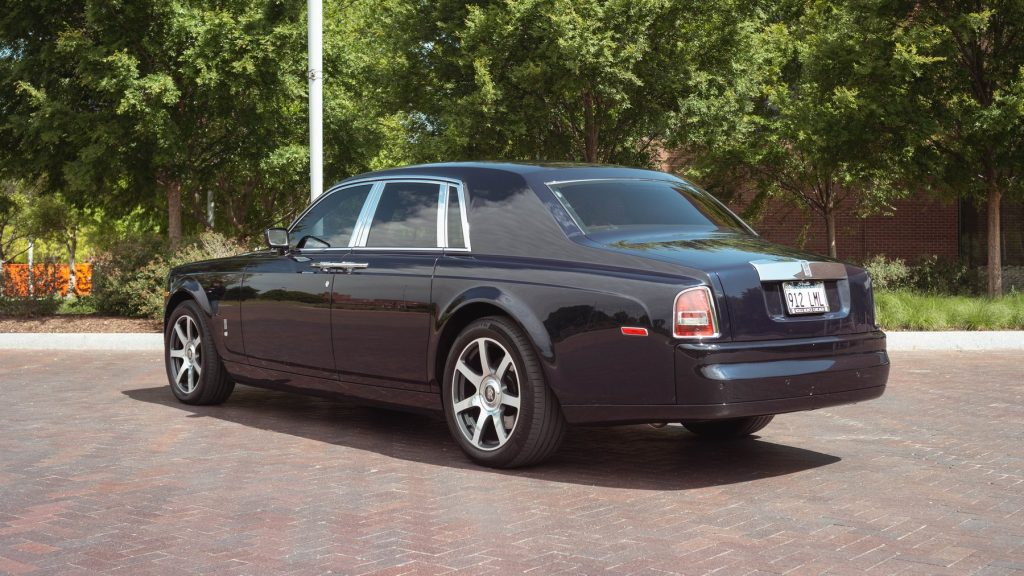 The rear of a Rolls-Royce Phantom owned by YouTube celebrity Tyler Hoover
