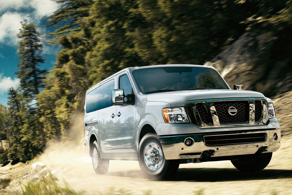 2020 NV passenger van on a dirt road
