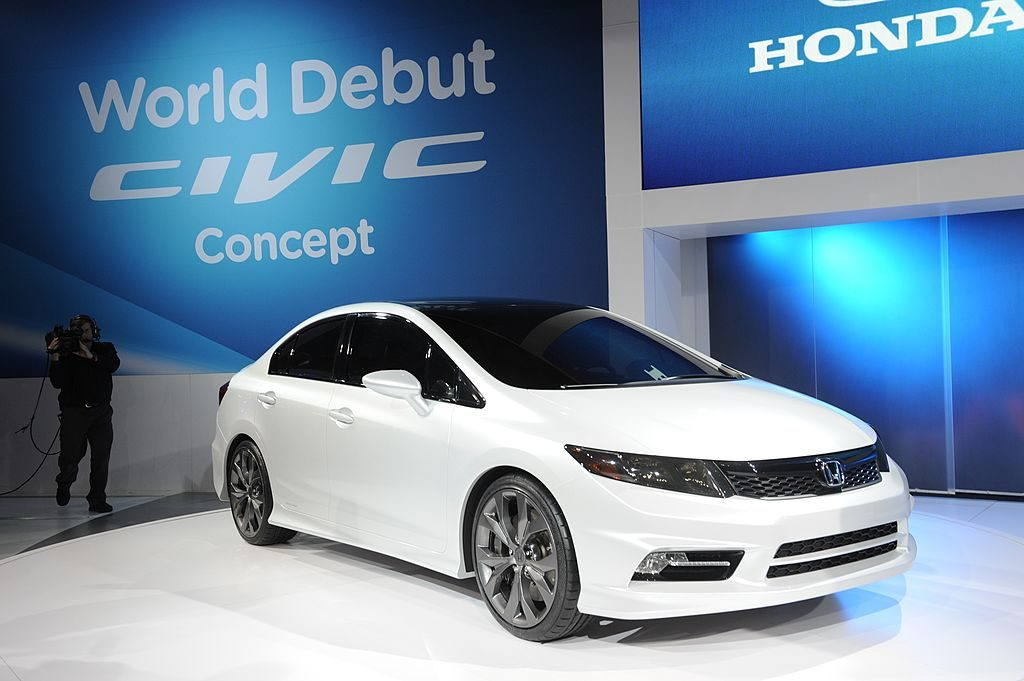 The 2012 Honda Civic concept car is viewed during the first press preview day at the 2011 North American International Auto Show