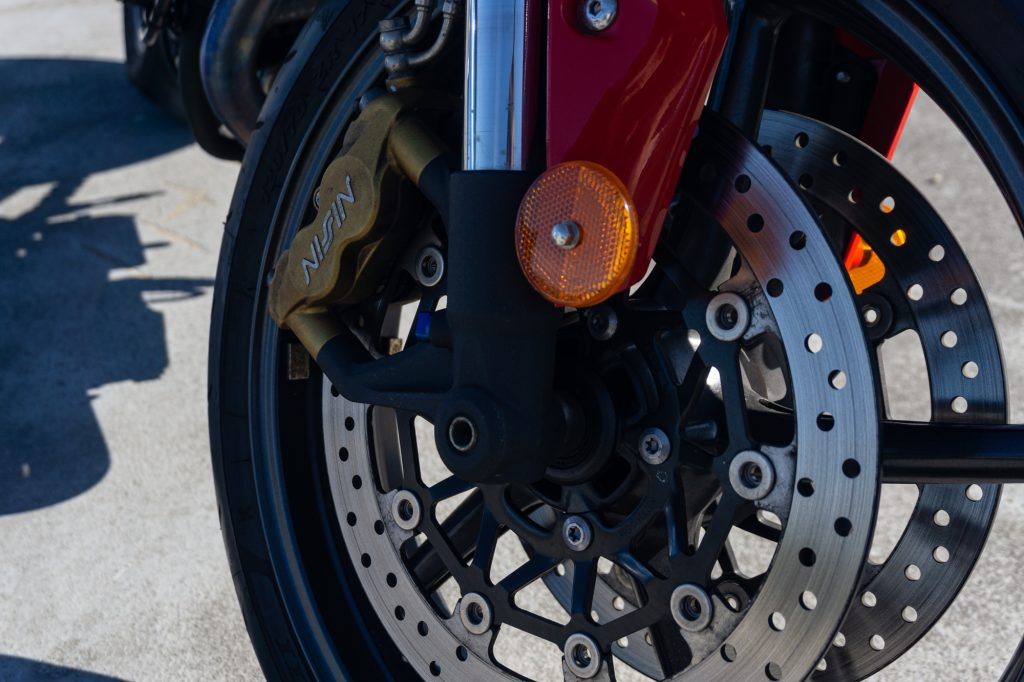 Front dual Nissin brake discs on the 2012 Triumph Street Triple R