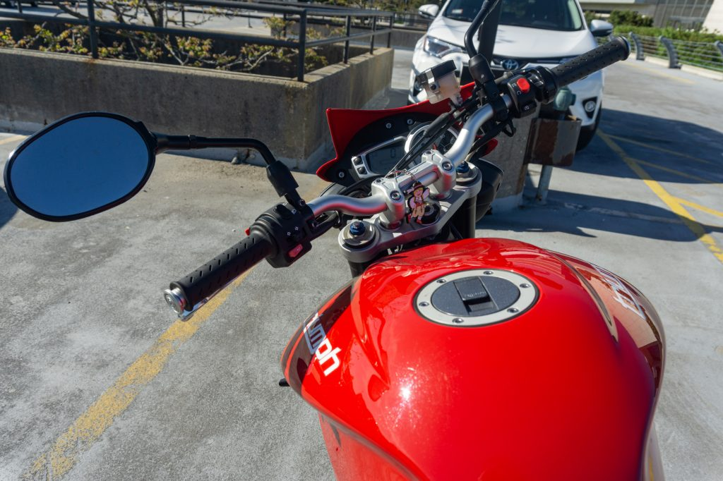 2012 Triumph Street Triple R handlebars shown from the rider's perspective