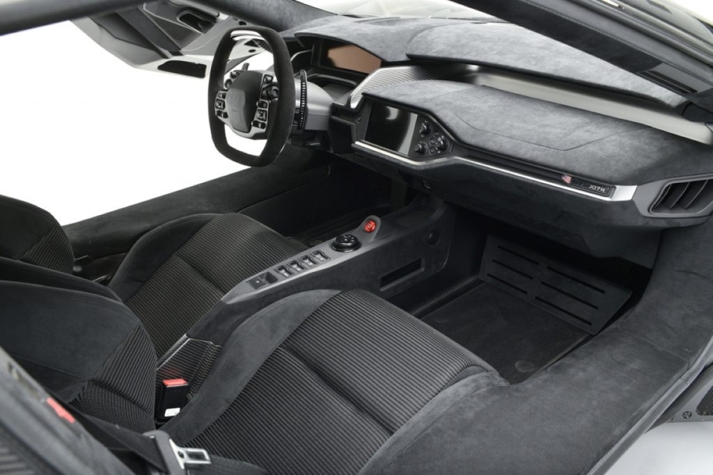 A view of the interior of the 2018 Ford GT at auction