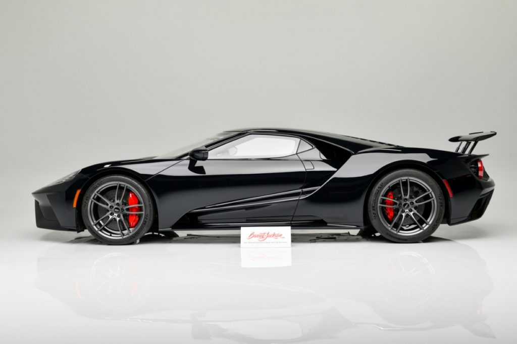 A profile view of the 2018 Ford GT at auction