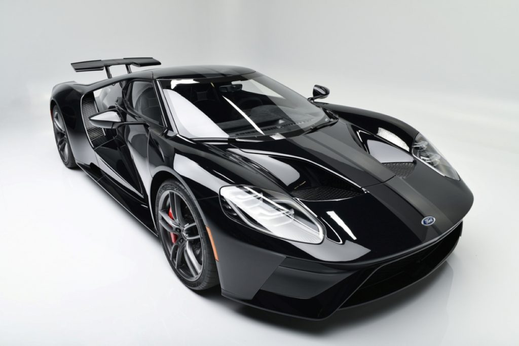 A view overlooking the front passenger side of the 2018 Ford GT at auction