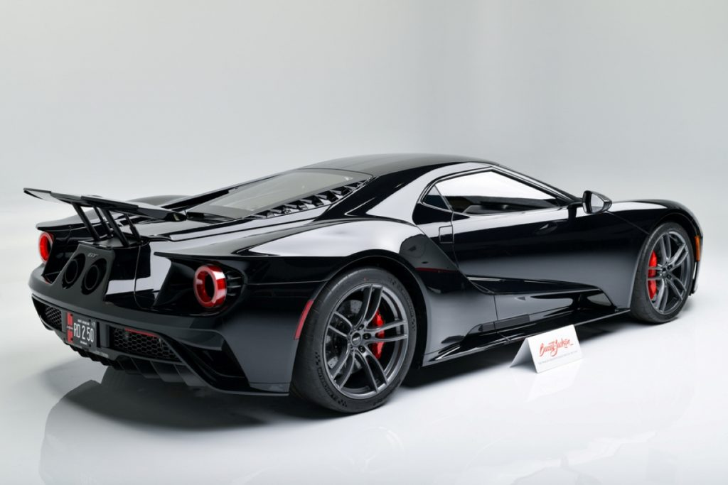 A view of the rear of the 2018 Ford GT at auction