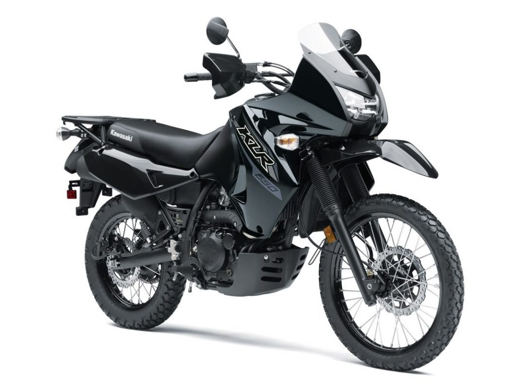 Black 2018 Kawasaki KLR650 motorcycle