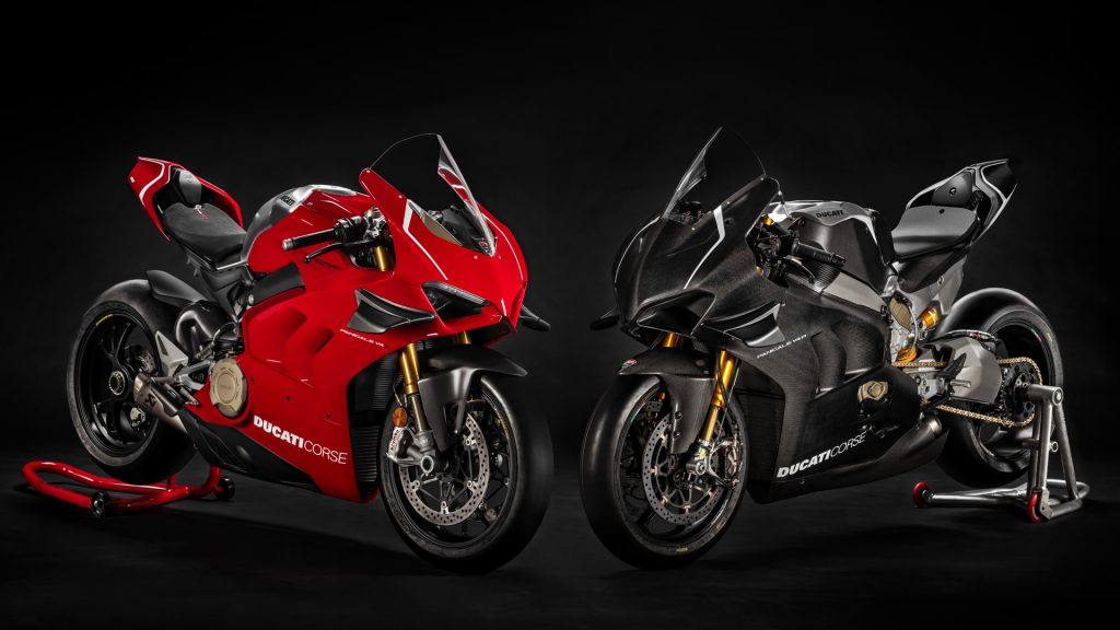 2 2019 Ducati Panigale V4 R motorcycles, one with red body panels and one with black carbon-fiber panels