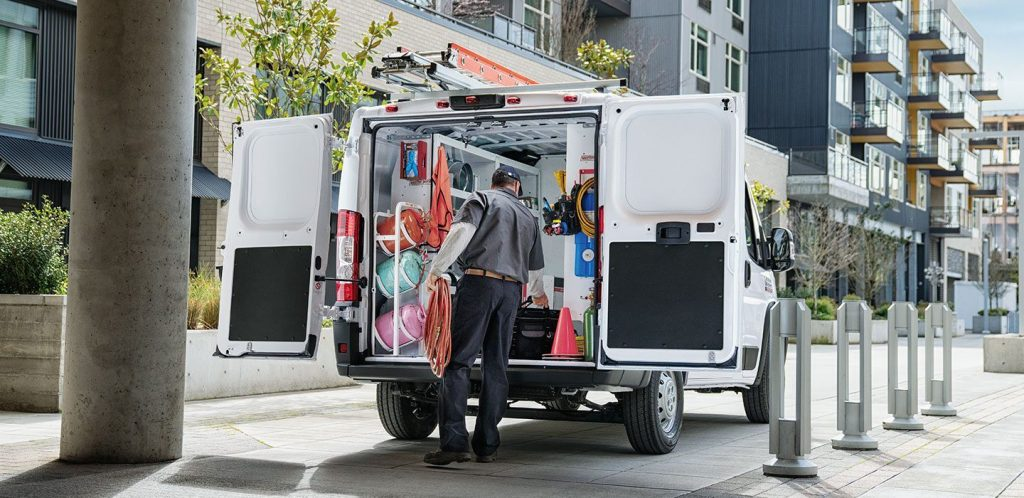 the rear interior cargo of a Ram ProMaster being used on a job