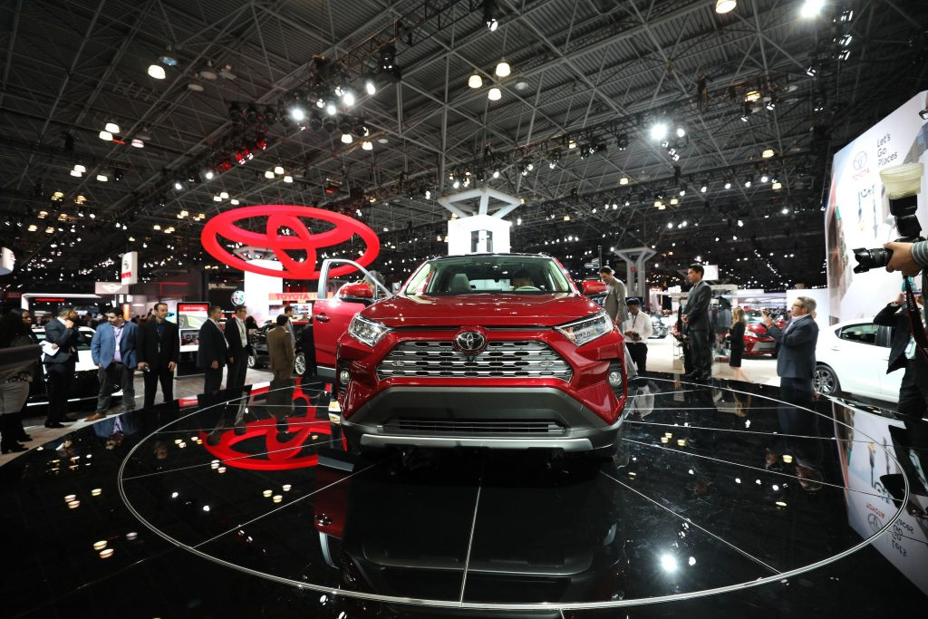 2019 Toyota RAV4 is on display during the New York Autoshow