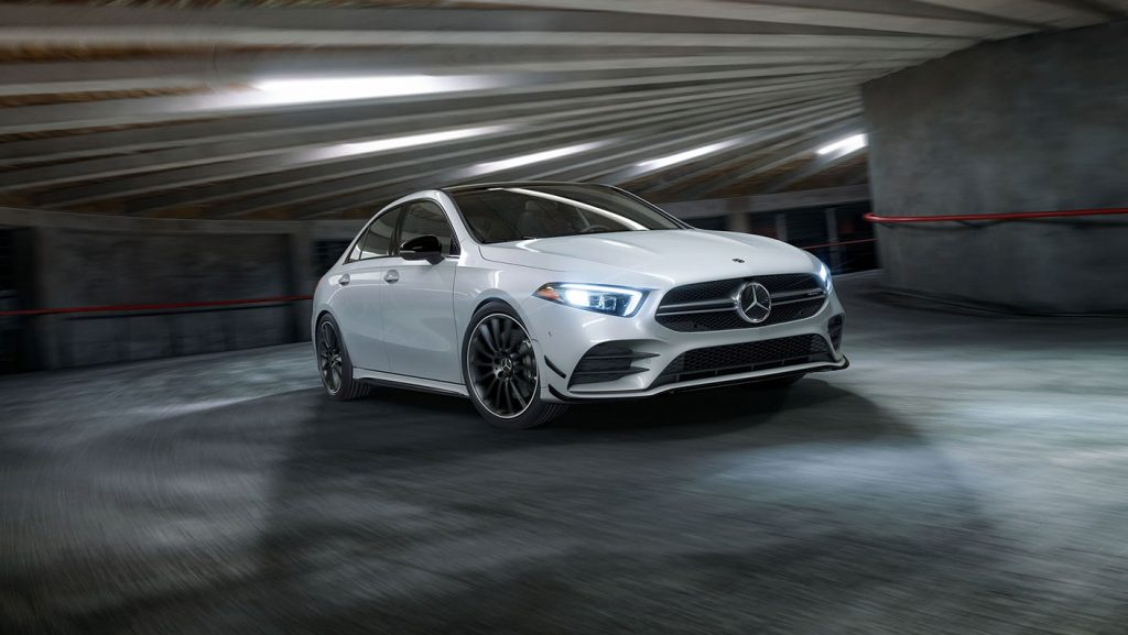 a white mercedes-benz AMG A35