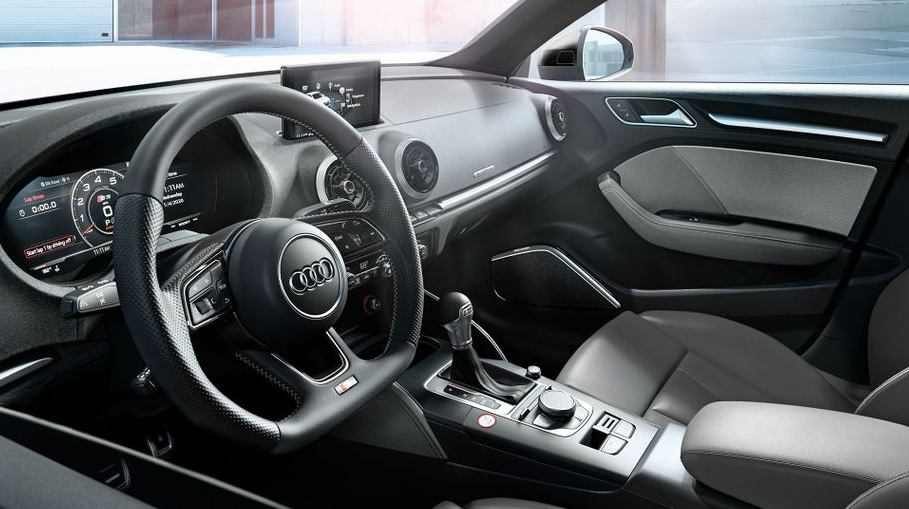 Grey-and-black 2020 Audi S3 interior