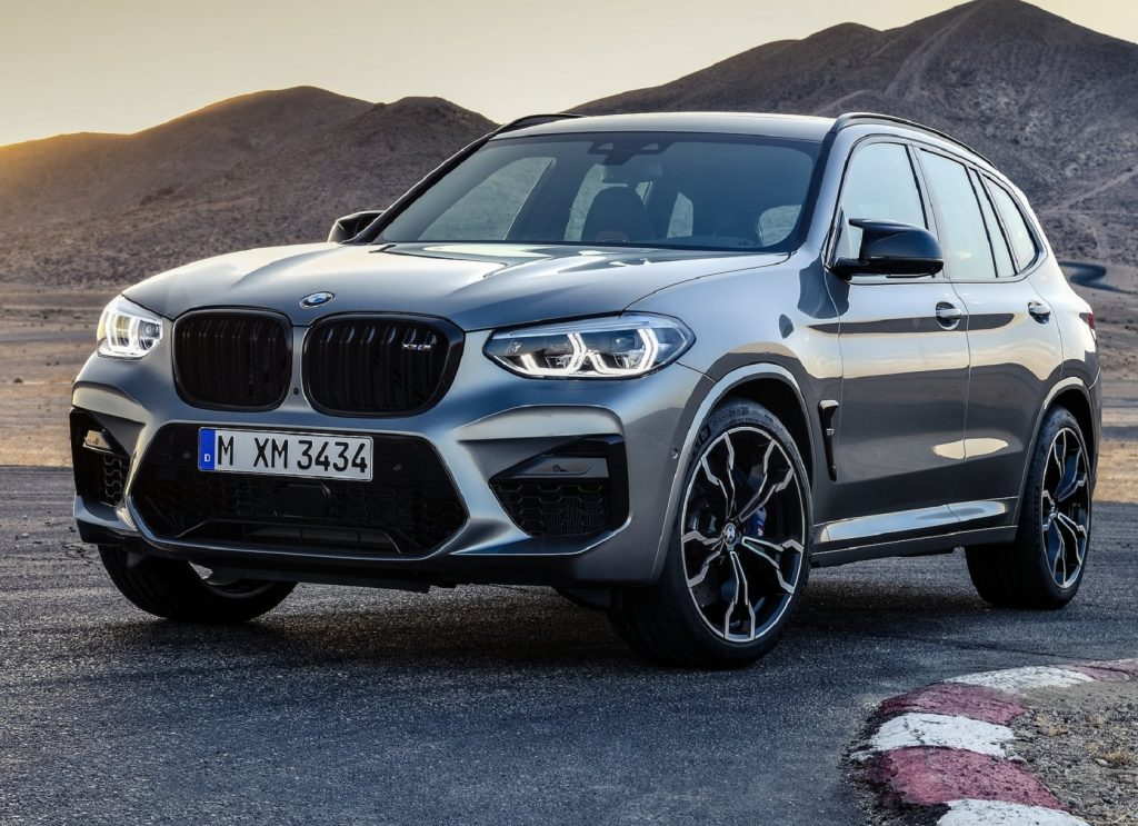Gray 2020 BMW X3 M Competition crossover parked on a racetrack.