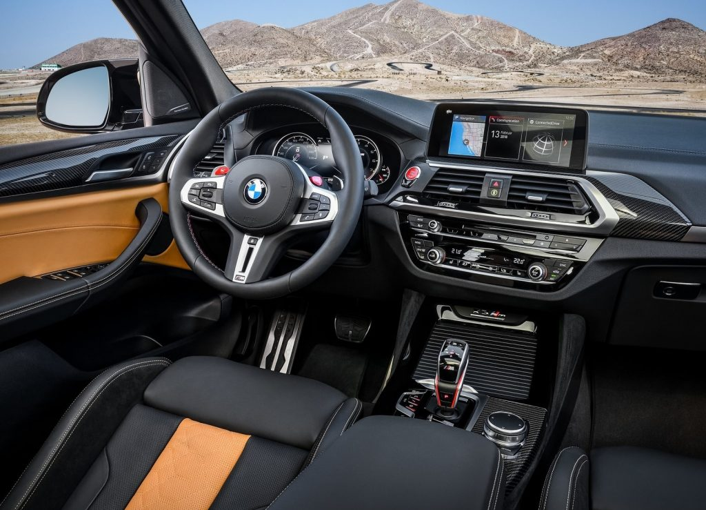 2020 BMW X3 M Competition interior, with tan-trimmed leather sport seats