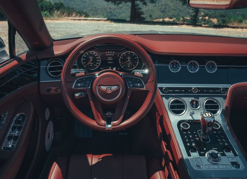 2020 Bentley Continental GT V8 Convertible interior, with red leather and polished metal center console