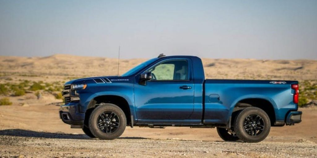 blue 2020 Chevy Silverado regular cab with short box in desert