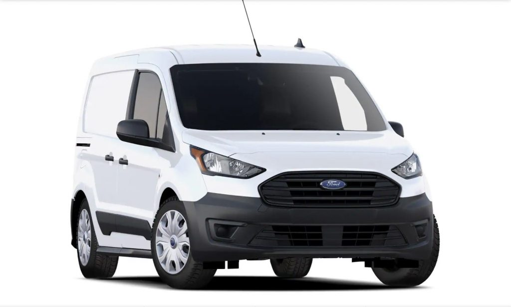 The front of a white Ford Transit Connect cargo van