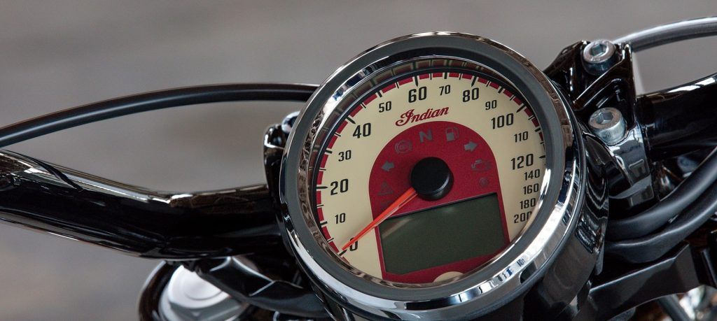 2020 Indian Scout Sixty's gauge, showing speedometer, indicator lights, and digital display