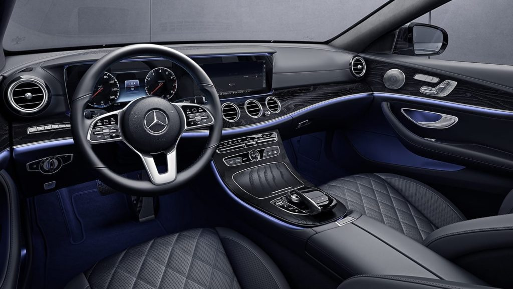 2020 Mercedes E450 4Matic Wagon interior, with designo Black/Titanium Grey Pearl Exclusive Nappa leather and adjustable LED interior lighting