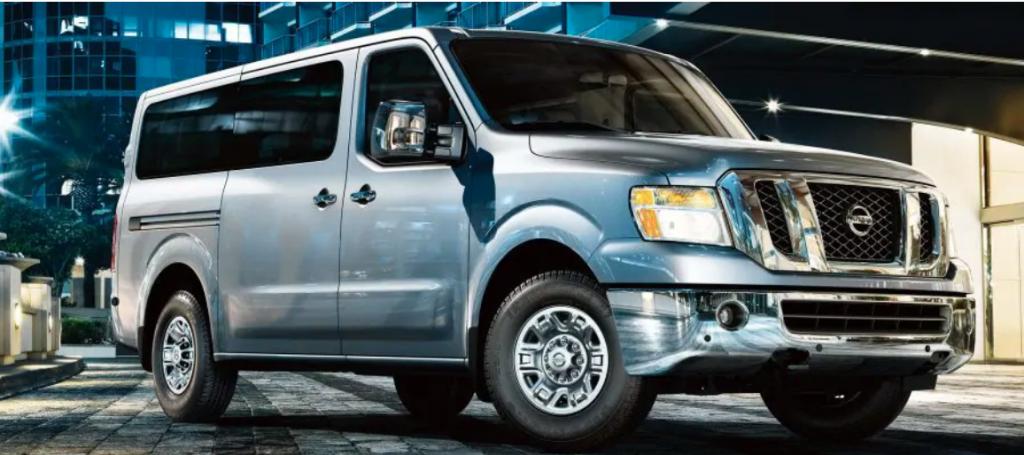 light blue Nissan cargo van