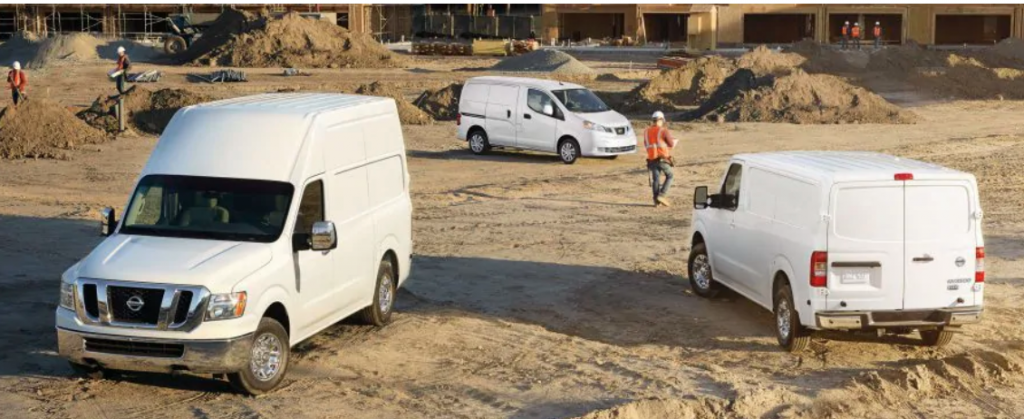 nissan's commercial van lineupdirt field with