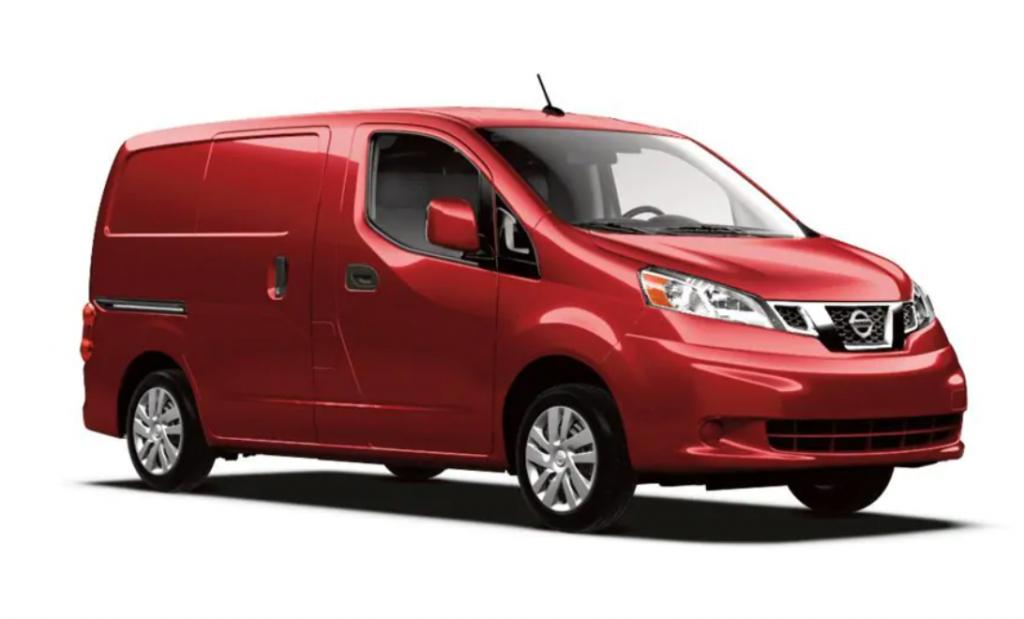 Nissan NV200 unibody cargo van in red on white background