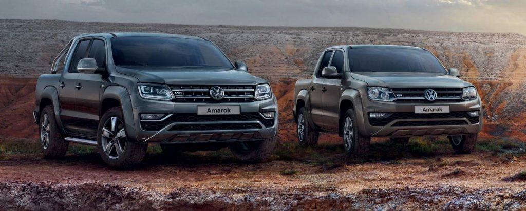 Two 2020 Volkswagen Amarok pickups sitting side by side