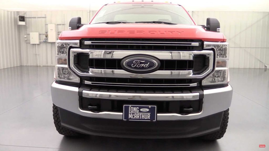 front view of red 2020 F250 Super Duty Ford pickup