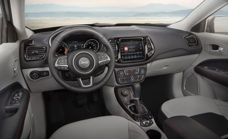 The 2020 Jeep Compass with grey and black interior finishings.
