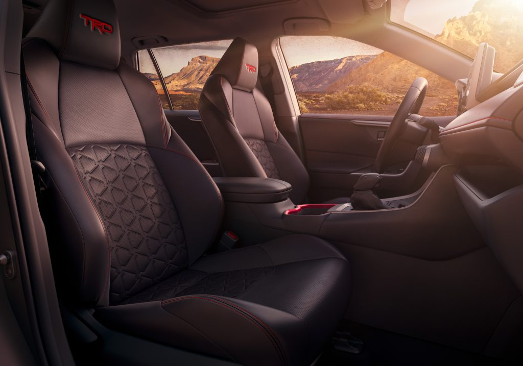 The toyota rav4 TRD's interior has softex cloth seats