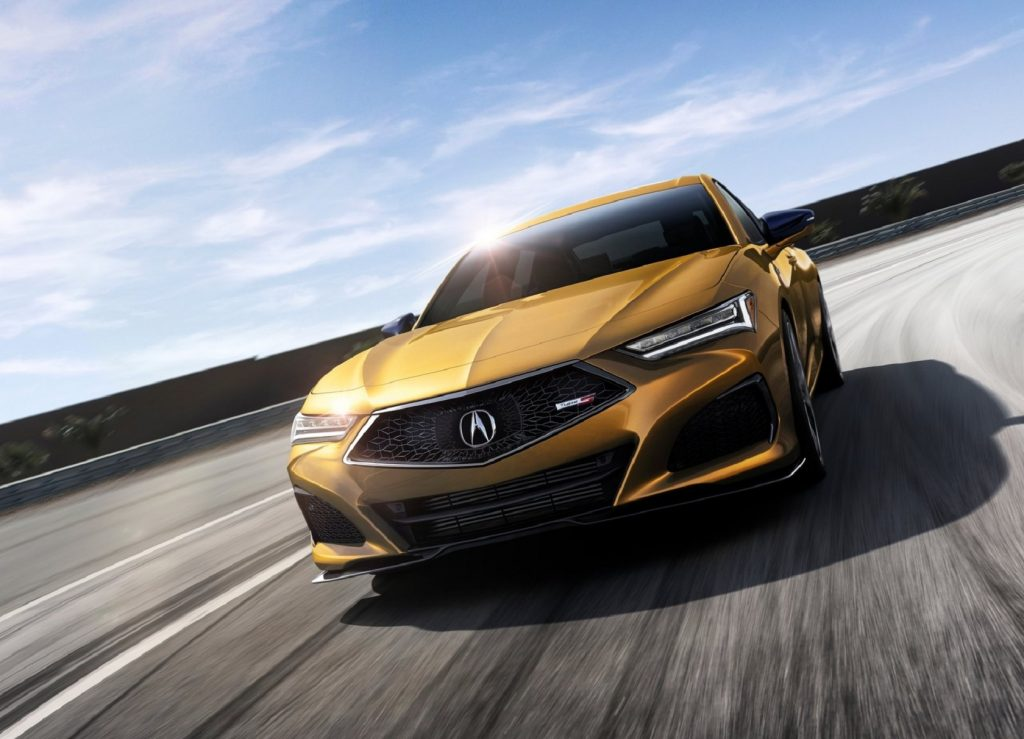Gold 2021 Acura TLX Type S on a track, front view
