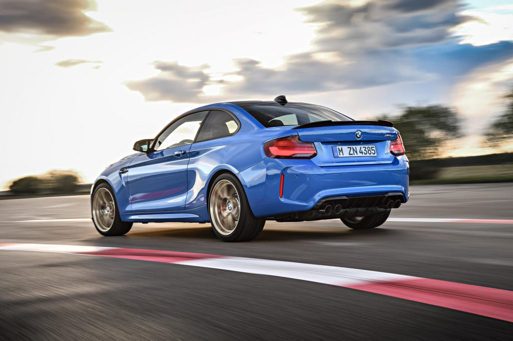 2021 BMW M2 CS in blue rear 3/4 view