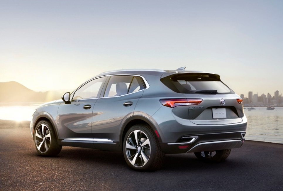 20201 Buick Envision in silver rear 3/4 view sitting on dock