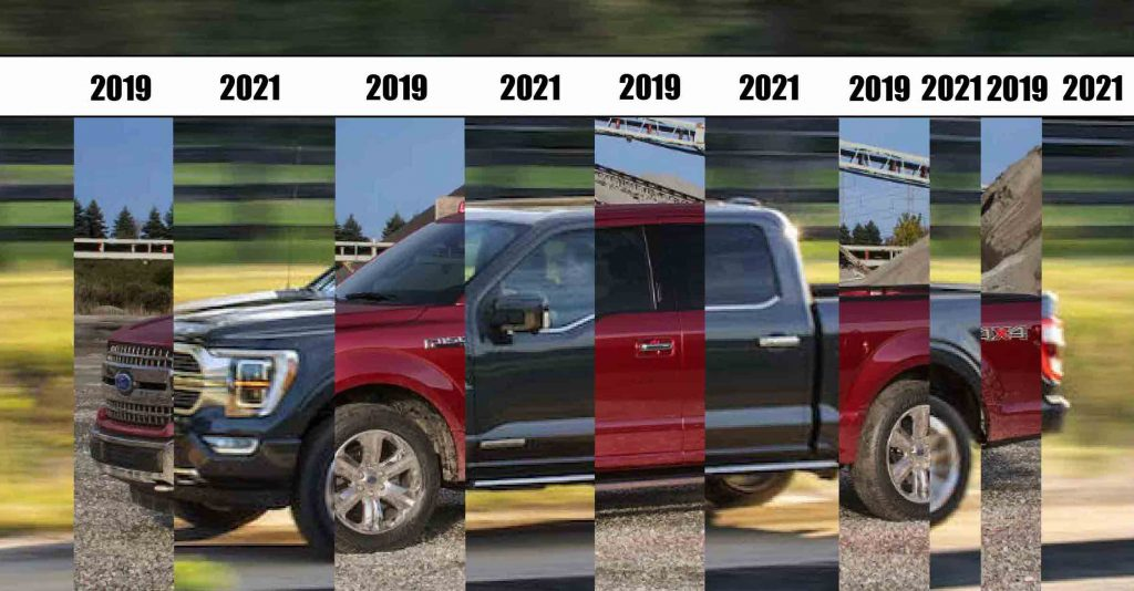 comparison between 2019 and 2021 Ford F150