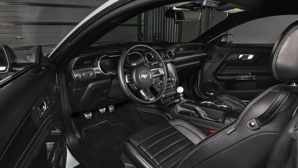 Black interior of 2021 Mustang Mach I