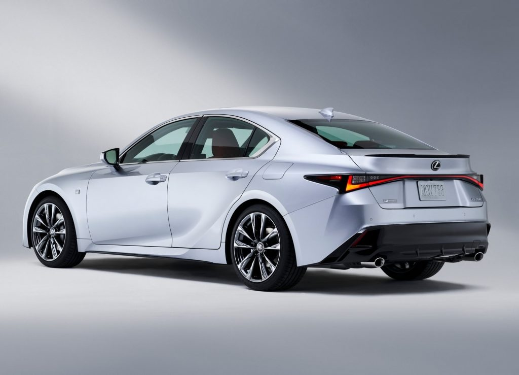 Silver 2021 Lexus IS 350 F Sport sedan, rear view
