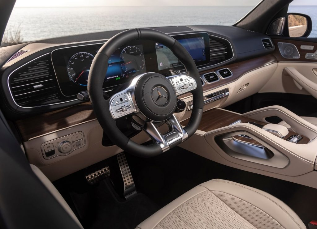 2021 Mercedes-AMG GLS 63 front interior, with tan leather seats and wood trim