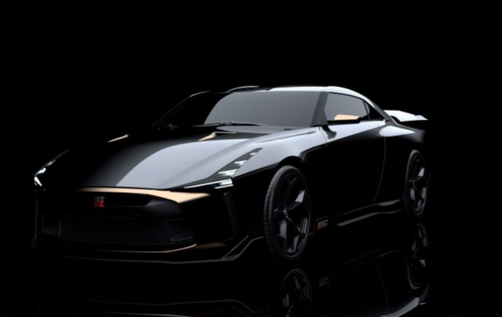 2021 Nissan GTR-50 by Italdesign with a black background