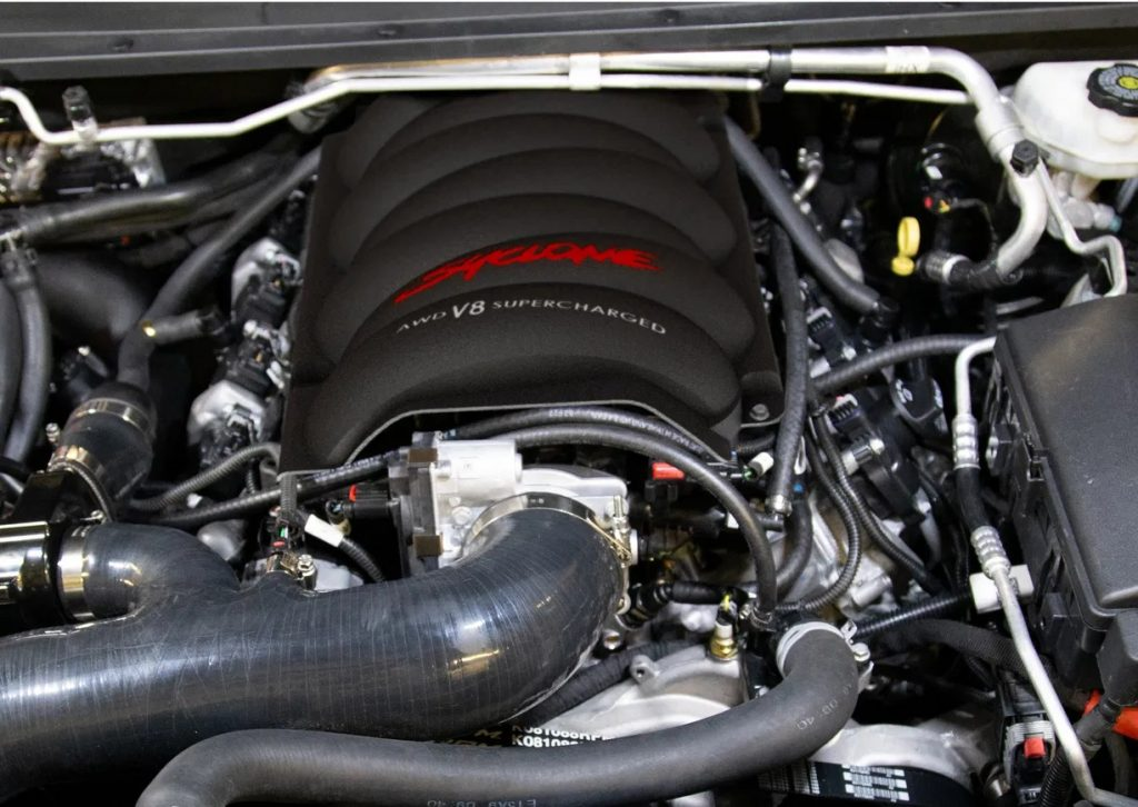 The 2021 SVE GMC Syclone's 750-hp supercharged V8 engine