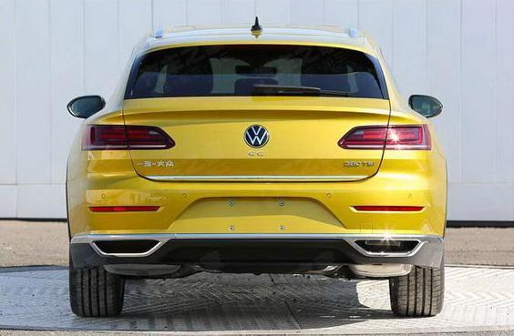 2021 VW Arteon Shooting Brake wagon rear view in yellow