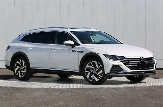 2021 VW Arteon Shooting Brake wagon front 3/4 view in white