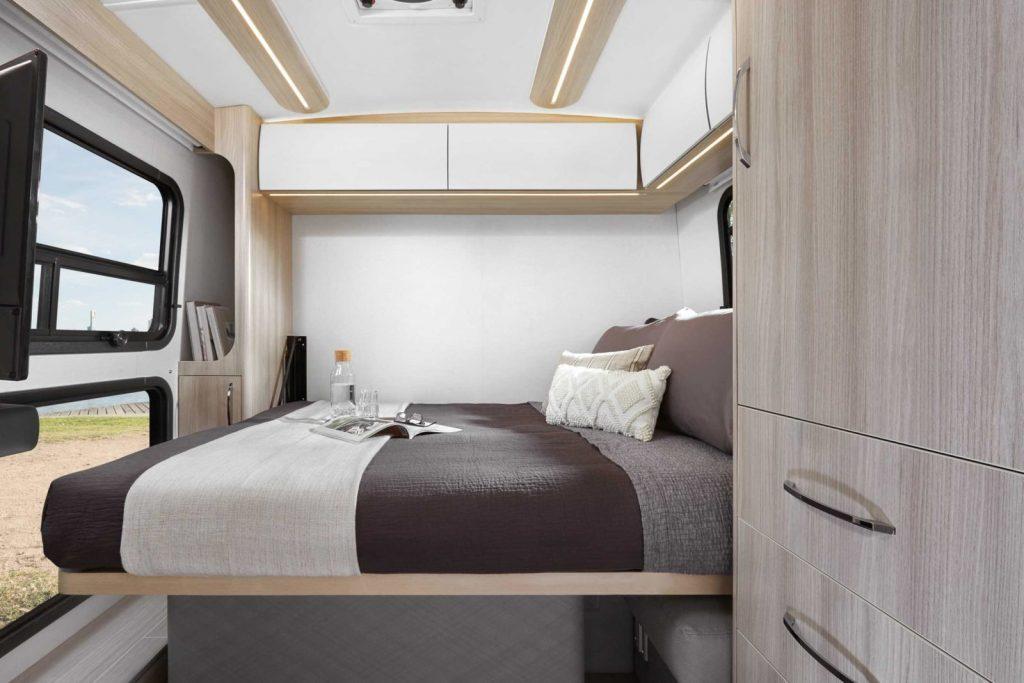 The Murphy Bed view of the 2021 Wonder Rear Lounge RV | Leisure Travel Vans