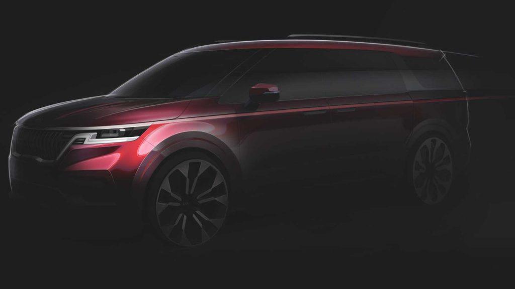 teaser rendering of the 2021 Kia Sedona minivan