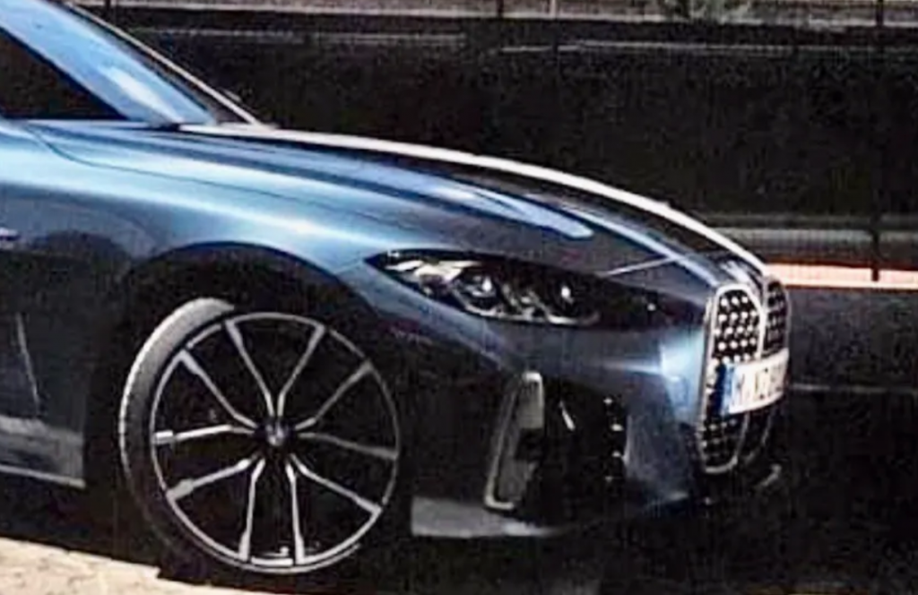 front side view of 2021 BMW 4-Series from leaked brochure showing ugly grille