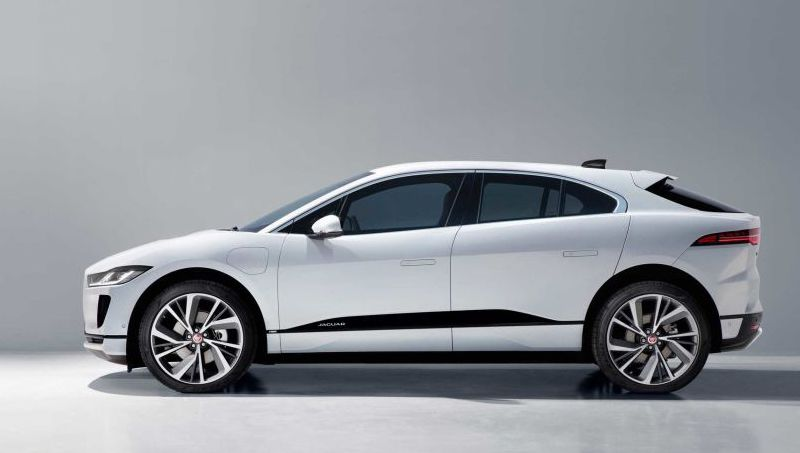 Side view of 2021 Jaguar I-Pace in white