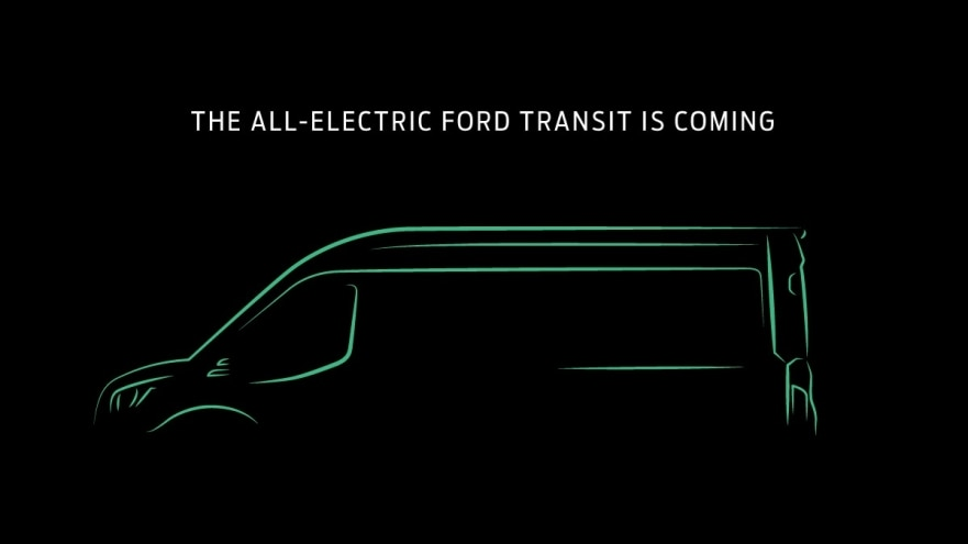sketch of 2022 Ford Transit EV with black background