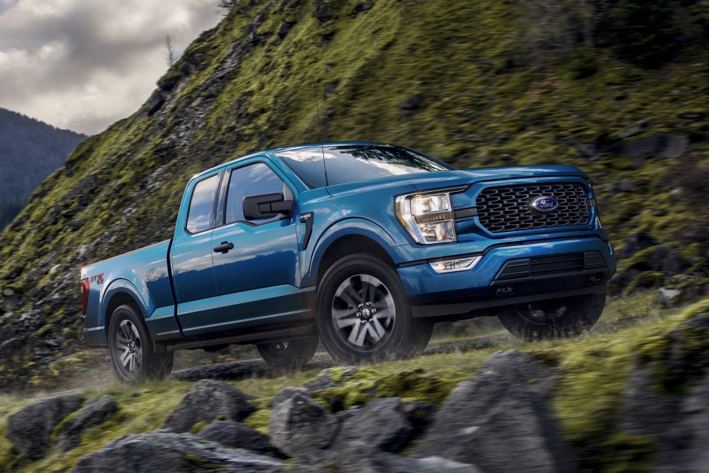 2021 Ford F-150 driving up steep mountain road