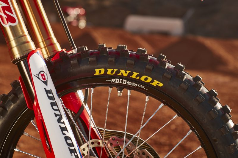 a fresh dunlop dirt bike tire on the Honda Racing Corporation CRF450R