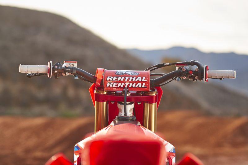 the handlebars of Ken Roczens Honda dirt bike