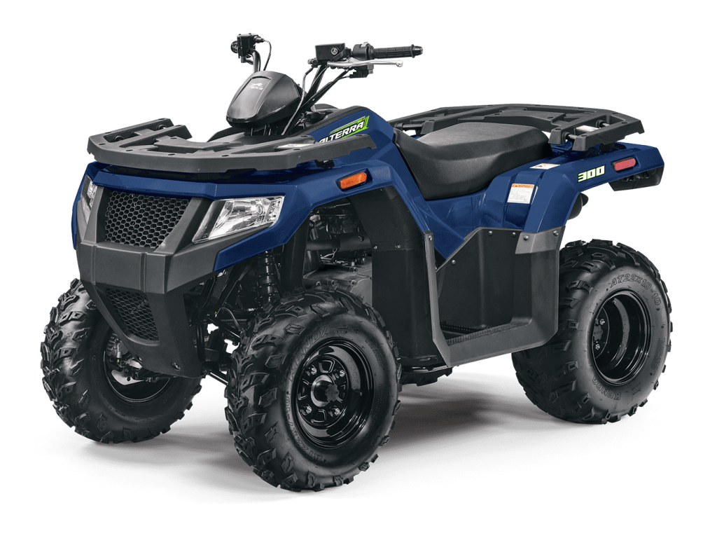 The Arctic Cat Alterra 300 in blue posing for a press photo against a white backdrop